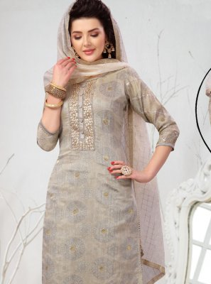Chanderi Embroidered Grey Readymade Suit
