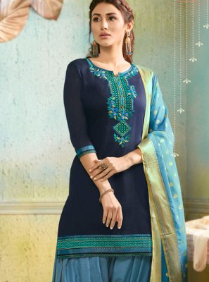 Chanderi Embroidered Navy Blue Salwar Suit