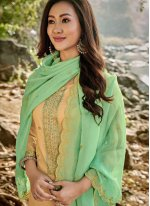 Chanderi Embroidered Pant Style Suit in Yellow