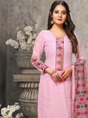 Chanderi Embroidered Pink Designer Suit