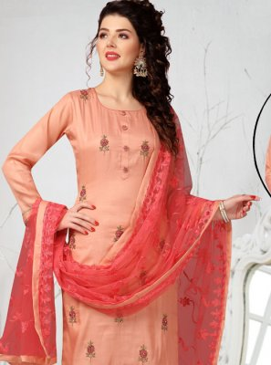 Chanderi Embroidered Pink Readymade Suit