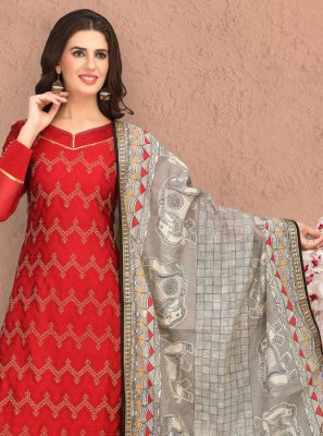 Chanderi Embroidered Red Pant Style Suit
