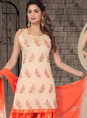 Chanderi Embroidered Salwar Kameez in Cream