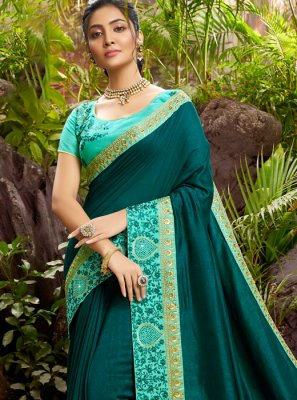 Chanderi Embroidered Teal Designer Saree