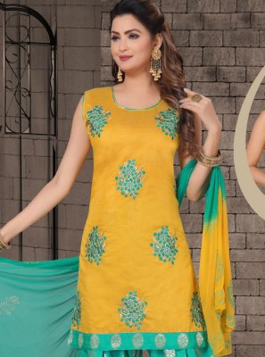 Chanderi Embroidered Yellow Salwar Kameez
