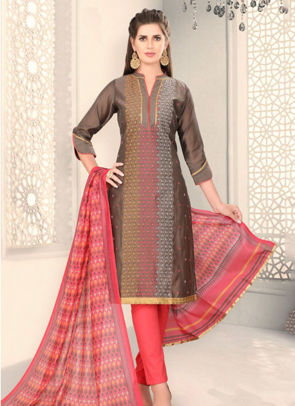 Chanderi Fancy Churidar Designer Suit