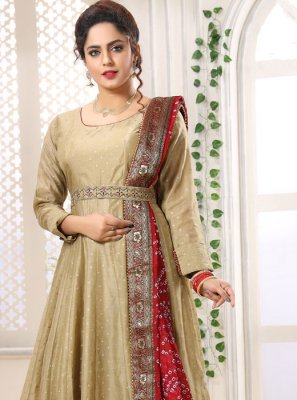 Chanderi Fancy Green Layered Designer Gown
