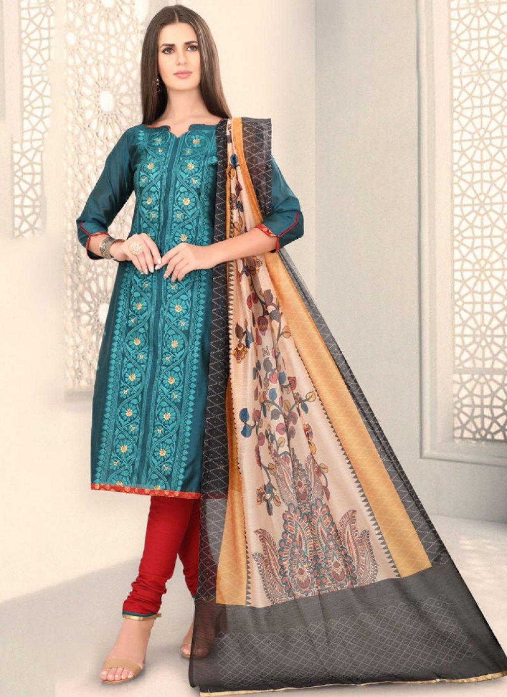 Chanderi Fancy Teal Churidar Designer Suit