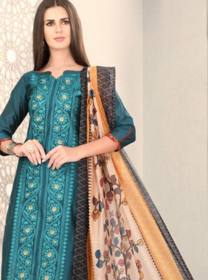 Chanderi Fancy Teal Churidar Designer Suit