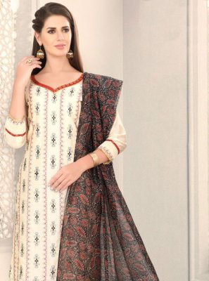 Chanderi Fancy White Churidar Designer Suit