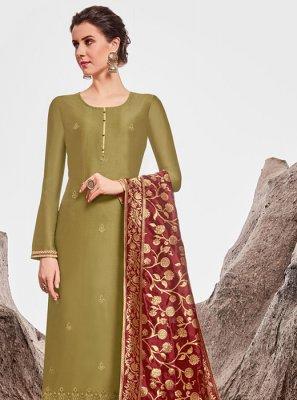Chanderi Green Stone Work Trendy Straight Salwar Suit