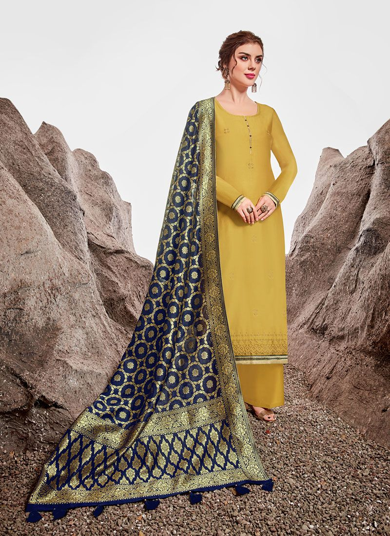 Chanderi Green Stone Work Trendy Straight Suit
