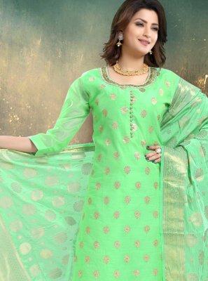 Chanderi Green Trendy Palazzo Salwar Kameez