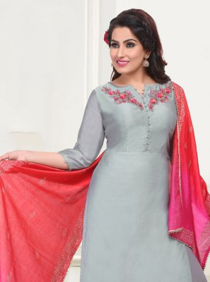 Chanderi Grey Embroidered Churidar Salwar Kameez