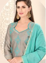 Chanderi Grey Fancy Churidar Designer Suit