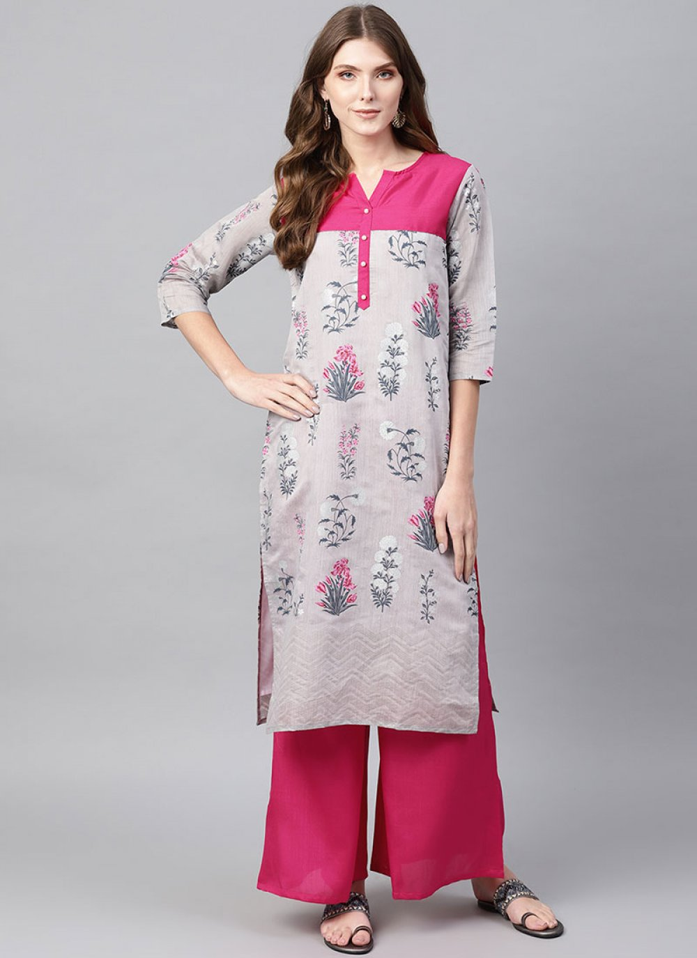 Chanderi Grey Printed Party Wear Kurti