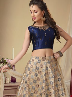 Chanderi Lehenga Choli in Beige and Navy Blue