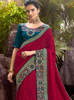 Chanderi Maroon Border Designer Saree