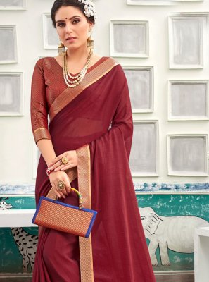 Chanderi Maroon Patch Border Traditional Saree