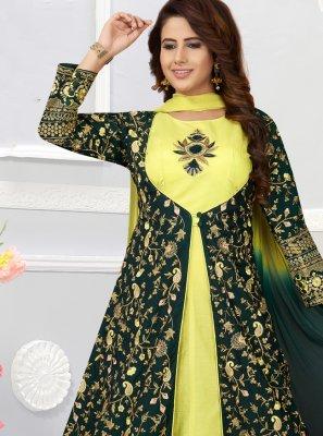 Chanderi Multi Colour Anarkali Salwar Kameez