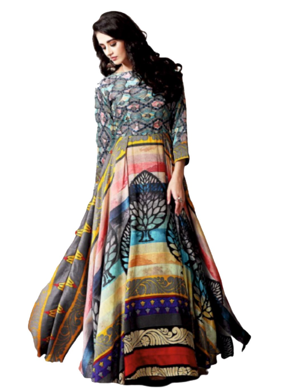 Chanderi Multi Colour Printed Party Wear Kurti