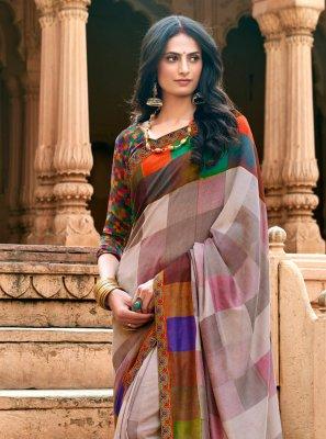 Chanderi Multi Colour Traditional Saree