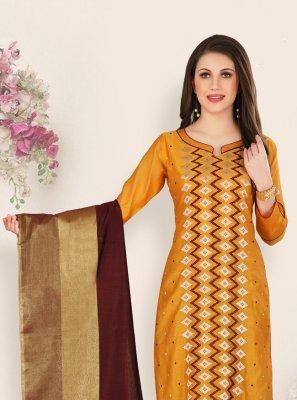 Chanderi Mustard Salwar Suit