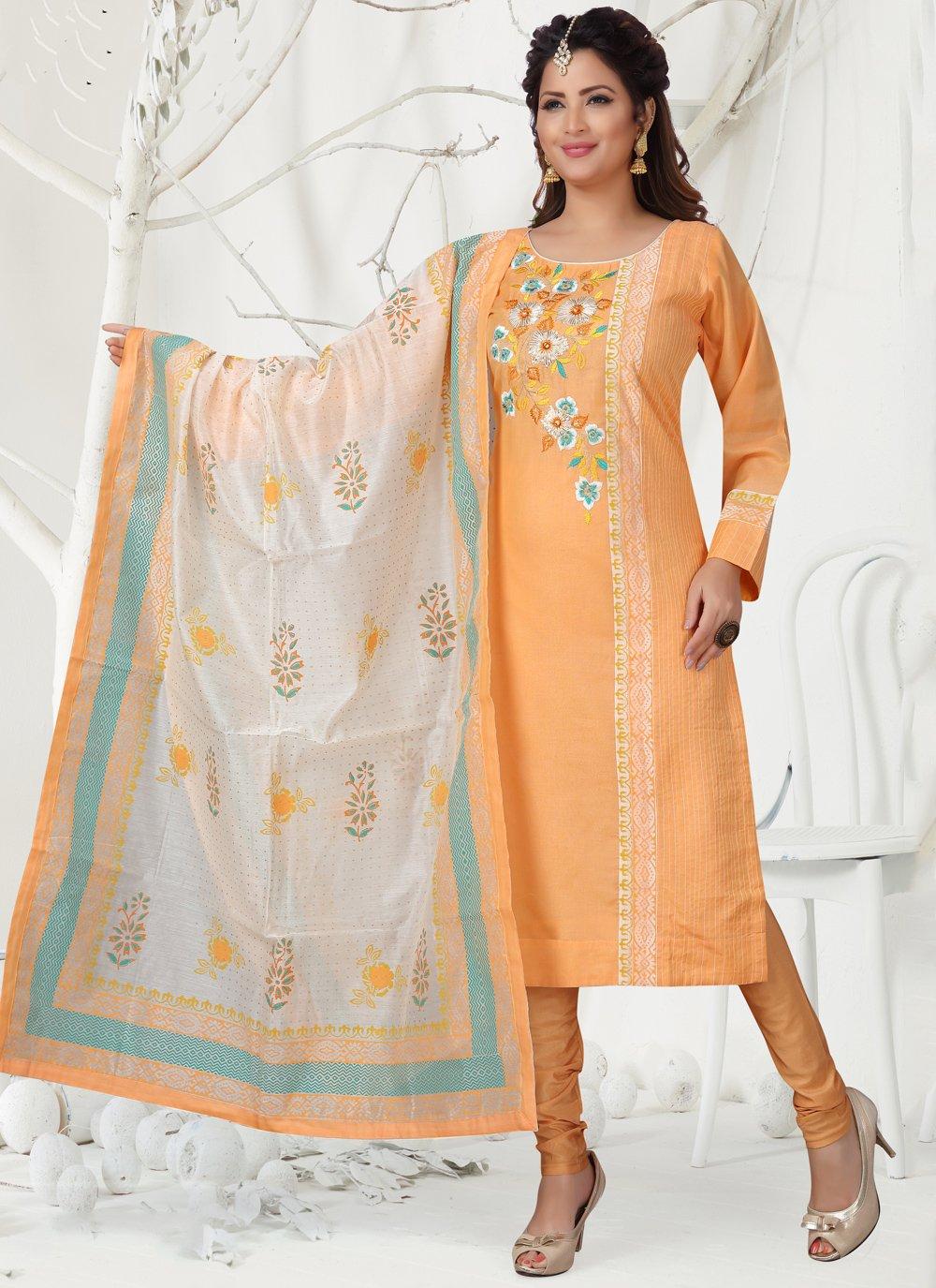 Chanderi Orange Churidar Designer Suit