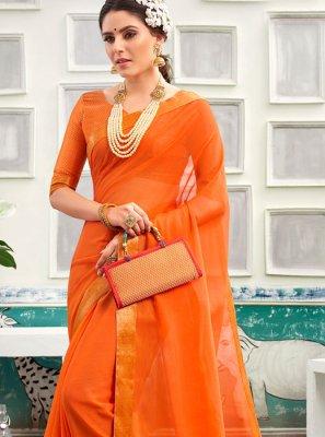 Chanderi Orange Traditional Saree