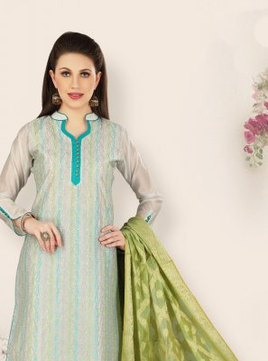Chanderi Pant Style Suit in Blue
