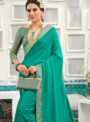 Chanderi Patch Border Traditional Saree in Sea Green