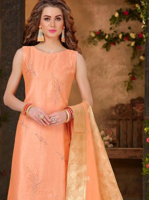 Chanderi Peach Salwar Suit