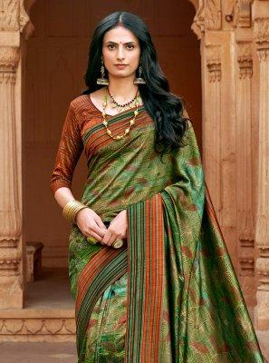 Chanderi Print Traditional Saree in Multi Colour