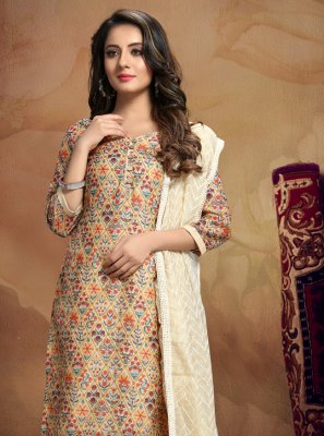 Chanderi Printed Cream Churidar Salwar Kameez