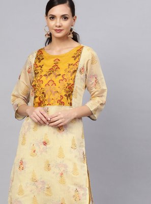 Chanderi Printed Designer Kurti in Cream