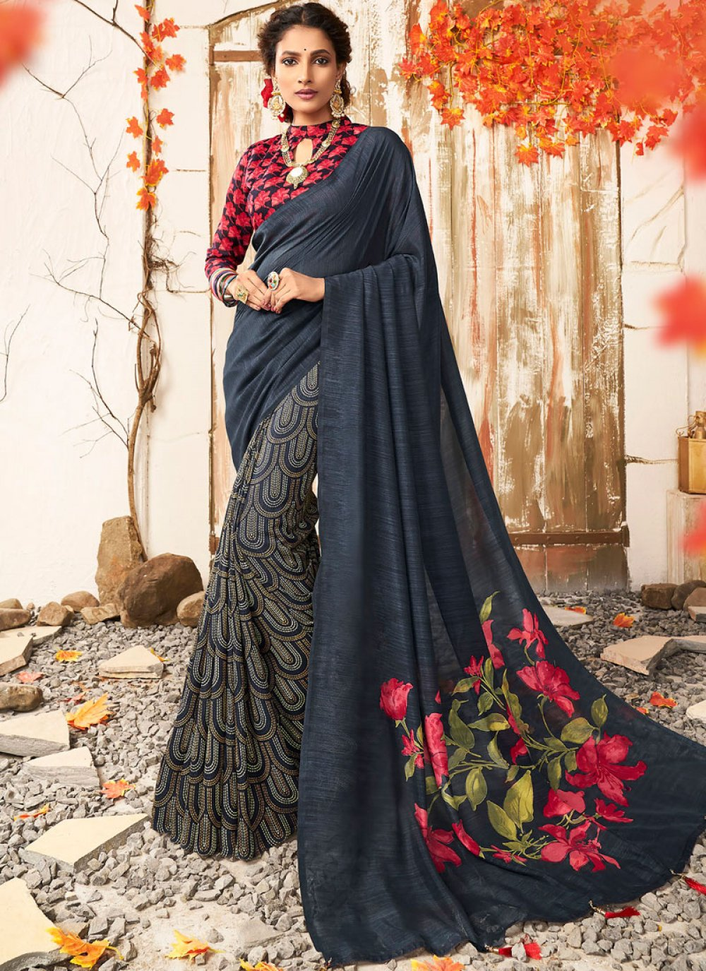 Chanderi Printed Designer Saree in Black