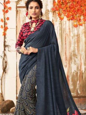Chanderi Printed Designer Saree in Black