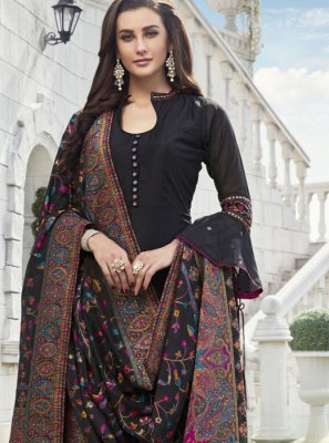 Chanderi Readymade Suit in Black