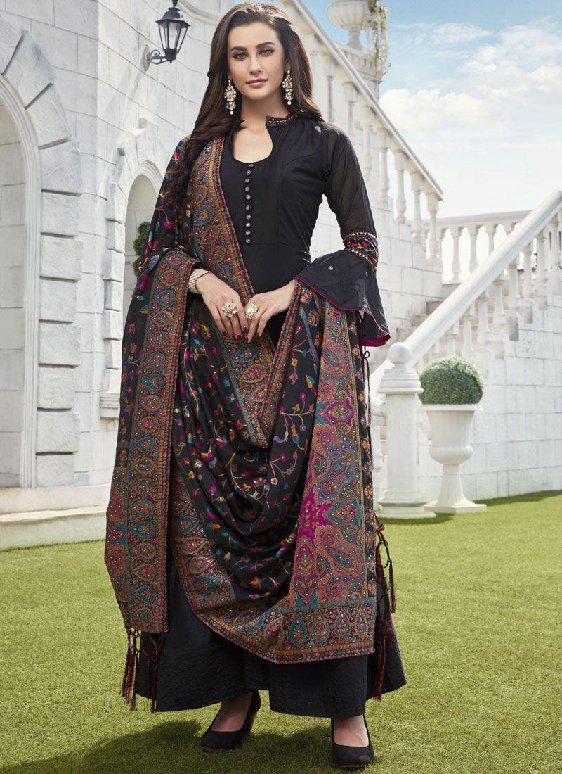 Chanderi Readymade Suit in Black