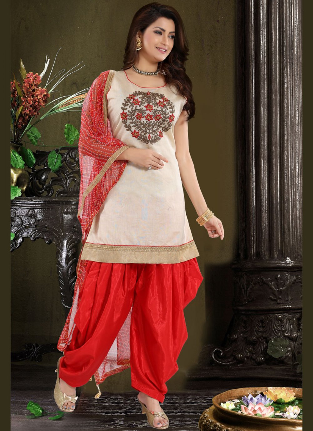 Chanderi Red Embroidered Designer Patiala Suit