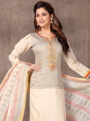 Chanderi Resham Churidar Designer Suit in Cream