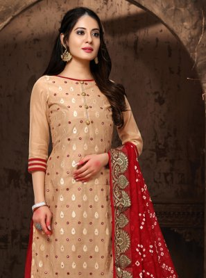 Chanderi Resham Cream Salwar Suit