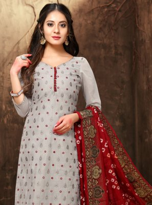 Chanderi Resham Grey Churidar Designer Suit