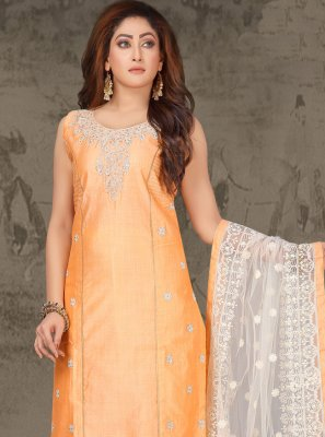 Chanderi Resham Orange Salwar Suit