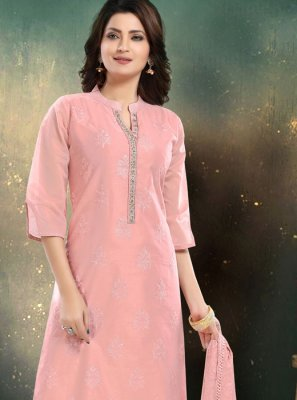 Chanderi Rose Pink Embroidered Palazzo Salwar Suit