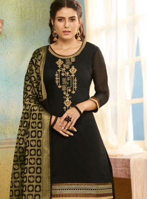Chanderi Salwar Suit in Black