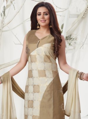 Chanderi Salwar Suit in Brown
