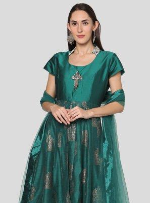 Chanderi Salwar Suit in Green