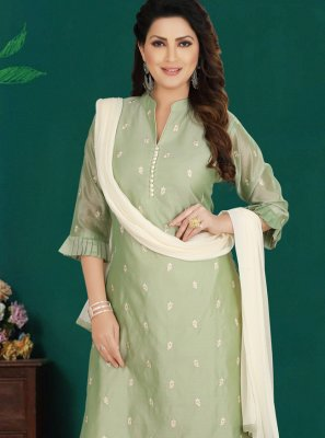 Chanderi Salwar Suit in Green
