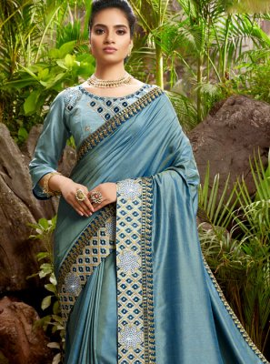 Chanderi Silver Embroidered Designer Saree